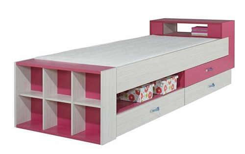 Dětská růžová postel s úložným prostorem