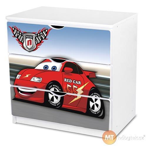 Dětská šuplíková komoda červené Auto