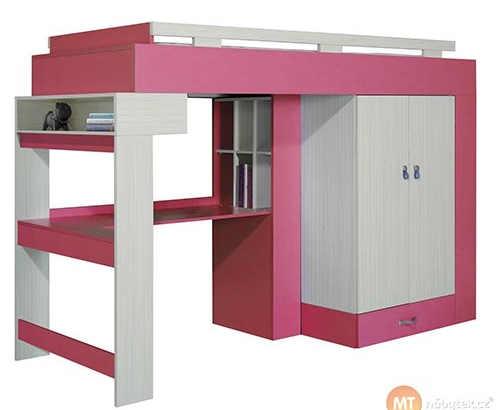 Růžová patrová postel s psacím stolem