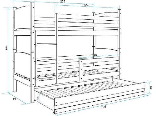 Borovicová dřevěná patrová postel s přistýlkou