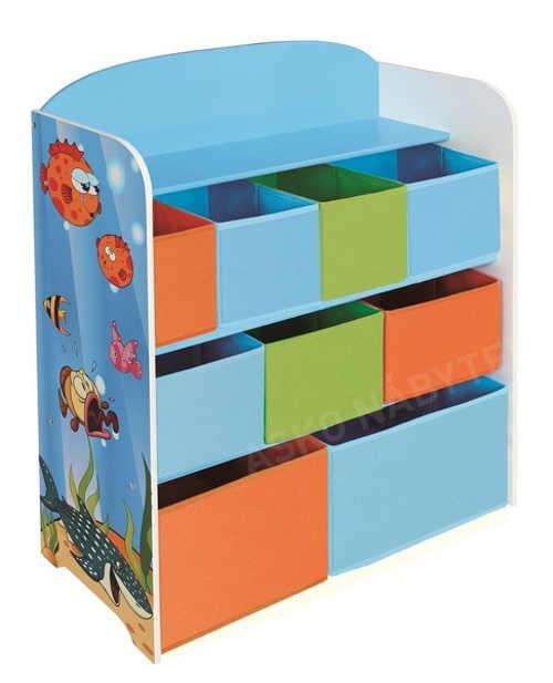Barevný dětský regál na hračky OCEAN