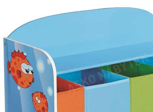 Barevný dětský regál s úložnými boxy na hračky