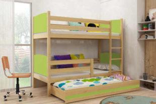 Borovicová patrová postel s přistýlkou Tamita