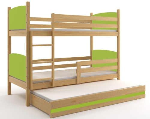 Dětská patrová postel s přistýlkou kombinace dřevo a zelená barva