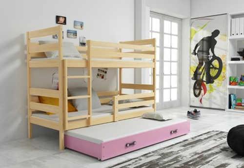 Kvalitní dřevěná patrová postel s přistýlkou
