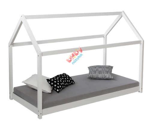 Bílá dětská postel se střechou