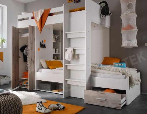 Multifunkční dvoupatrová dětská postel s množstvím úložných prostorů