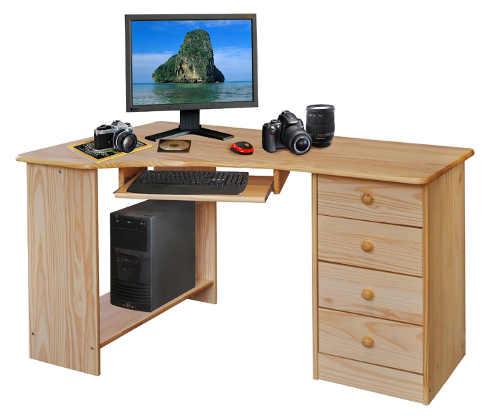 Rohový dětský pracovní stůl z masivního dřeva