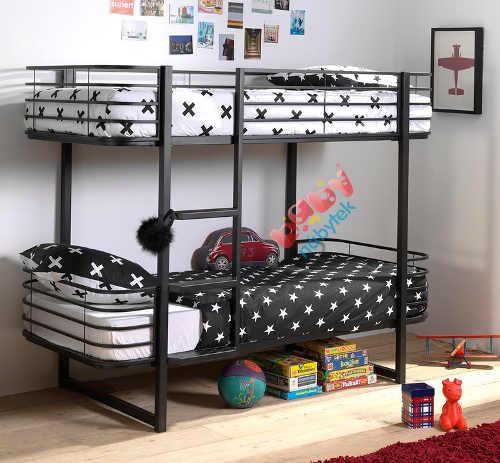 Černá kovová dětská patrová postel s kulatými hranami
