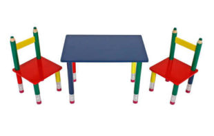 Dětský jídelní set pastelky - stůl a 2 židle