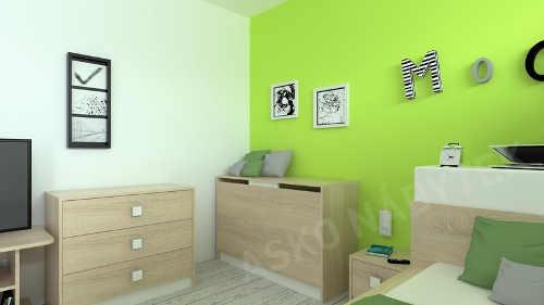 Jednoduchý studentský pokoj dub sonoma