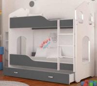 Moderní bílo-šedá patrová postel ve tvaru domečku