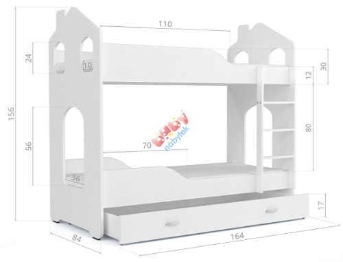 Unikátní dětská poschoďová postel domeček