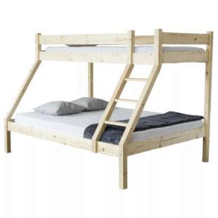Patrová postel pro 3 nocležníky v dekoru smrk