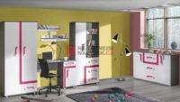 Set nábytku do pokoje v provedení antracit/růžová