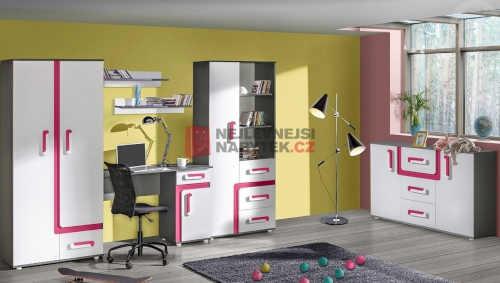 Set nábytku do pokoje v provedení antracit-růžová