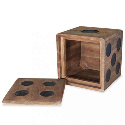 dřevěný box v provedení hrací kostky