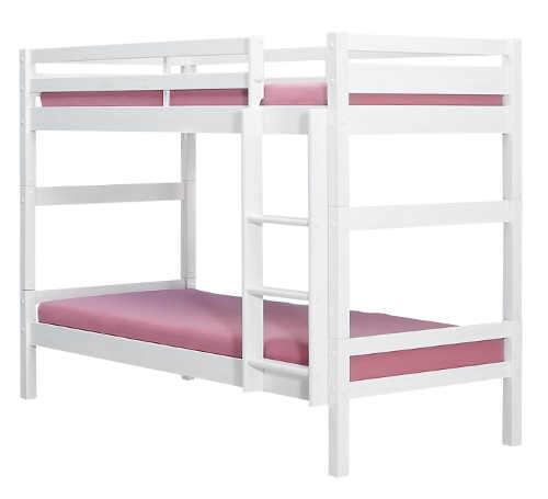 Levná bílá dřevěná dětská patrová postel GIGA