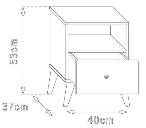 Technický nákres dětského nočního stolku na nožičkách