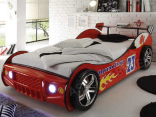 Dětská postel v designu auta s LED osvětlením