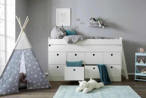 bílá vysoká postel do dětského pokoje