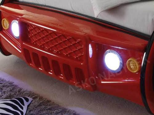 červená postel auto s led světlem