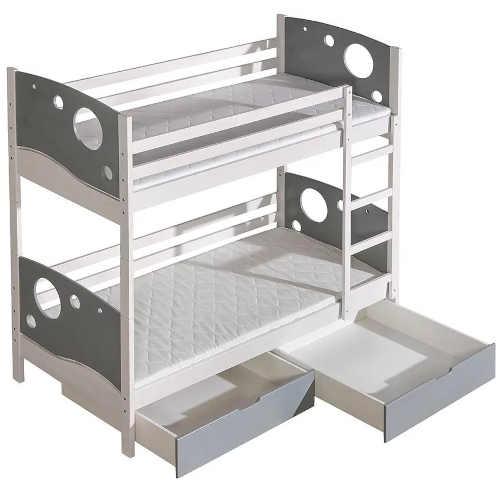 poschoďová postel v bílém provedení