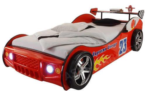 postel červená auto s poličkou