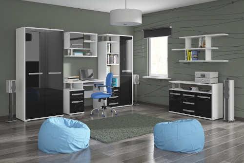 Černobílý nábytek do dětského a studentského pokoje