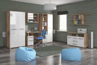 Moderní pokoj pro starší děti kombinace bílý lesk a dub sonoma