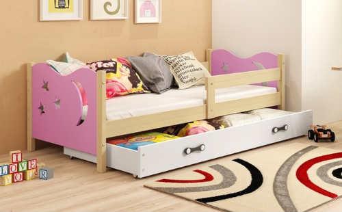 Růžovo-bílá dětská postel pro holčičku