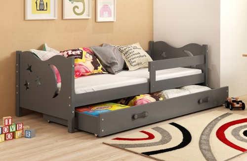 Tmavě šedá dětská postel 160 x 80 cm