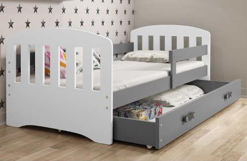 Trendy bílo-šedá dětská postel 160 x 80 cm