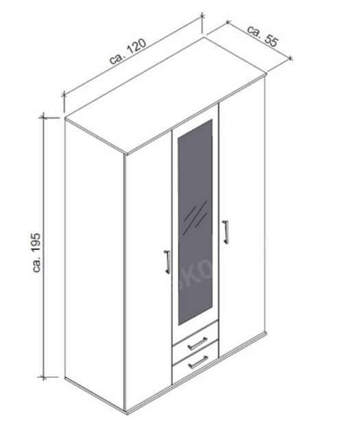 bílá vysoká šatní skříň