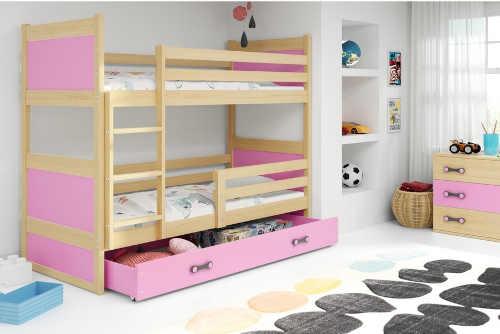 moderní patrová dřevěná postel