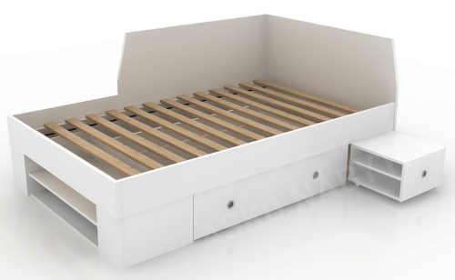 postel s dostatkem úložného místa