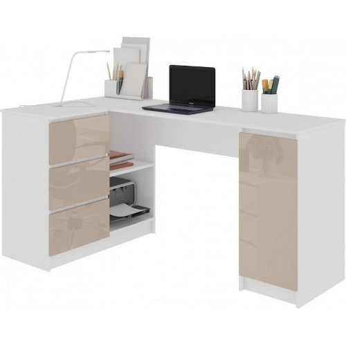 Počítačový stůl v dekoru bílá lesk-cappuccino