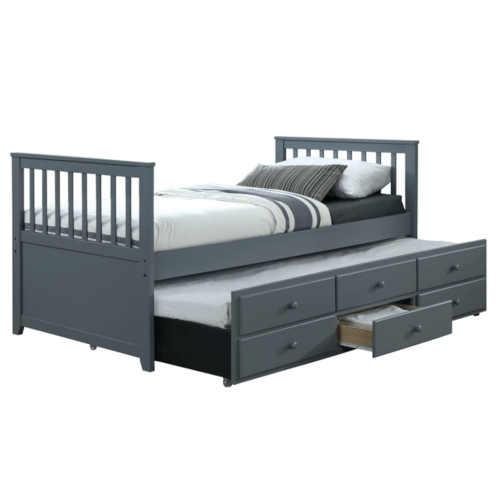 Rozkládací postel s přistýlkou a zásuvkami