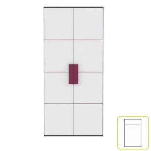 Šatní skříň v barevné kombinaci bílé, šedé a fialové