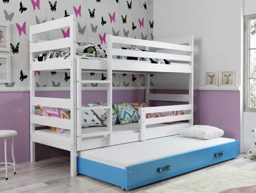 bilo-modra-detska-poschodova-postel-s-vysuvnym-luzkem