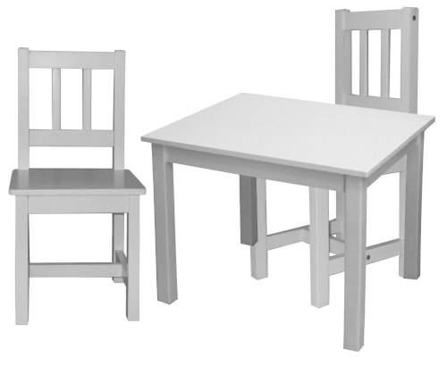 Bílý dřevěný stůl s židlemi pro mateřské školy