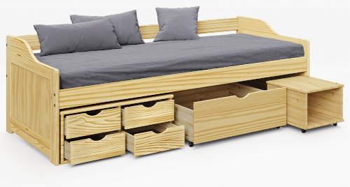 Borovicová jednolůžková postel s velkým množstvím úložných prostor