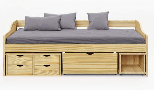 Dětská dřevěná postel s úložnými šuplíky