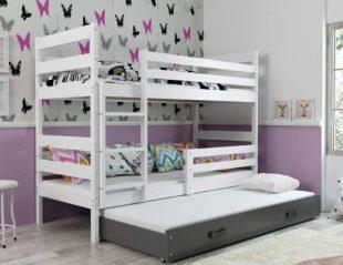 Dětská patrová postel ERYK 190x80 cm s výsuvnou přistýlkou