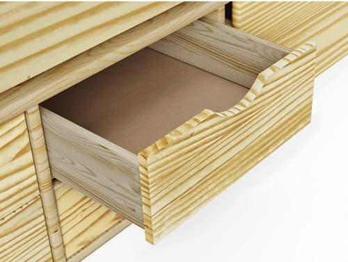 Pod postelí jsou praktické vysouvací zásuvky