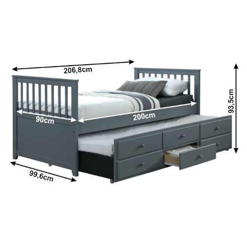 šedá moderní rozkládací postel