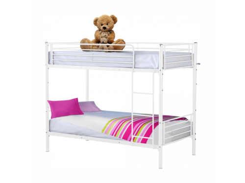 Bílá kovová rozložitelná patrová postel