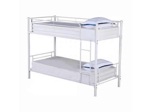 kovová patrová postel v bílém provedení