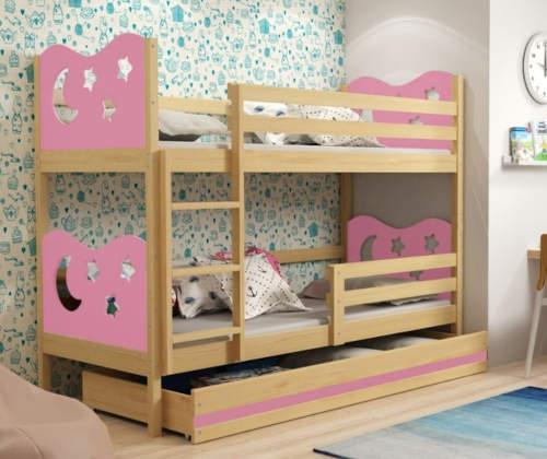 Růžová poschoďová postel do holčičího pokoje