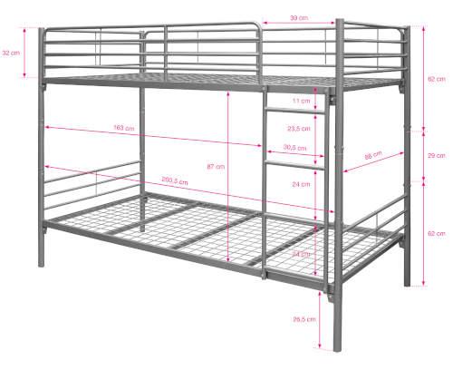 Jednoduchá kovová poschoďová postel